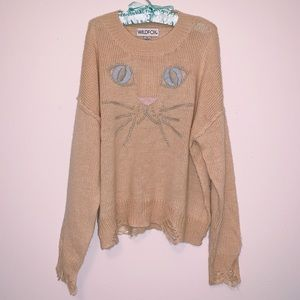 WILDFOX rare whiskers alpaca cat sweater NWT